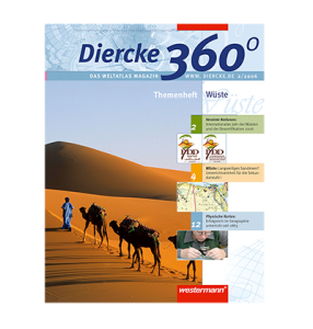 Referenz-Cover des Diercke 360 Grad-Kundenmagazins von LEHNSTEIN, das mit einzigartigen Reportagen und Unterrichtsmaterialien die Marke Diercke stärkt.