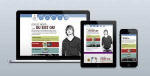 """Die Website ich-bin-ok.com im ersten Schritt der MEDICE-Kampagne """"Jeder ist anders"""" von LEHNSTEIN."""