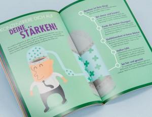 Referenzseite aus dem ADHS-Booklet Vol. 1, dass im Rahmen der MEDICE-Kampagne Jeder ist anders Jugendliche altersgerecht über den richtigen Umgang mit dem Störungsbild informiert.