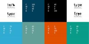 Die Farben des Corporate Design von TypeSCHOOL, das von Lehnstein entwickelt wurde.