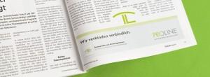 Referenzbeispiel der Imageanzeigen in Print, in denen die PROLINE-Piktogramme als verbindende Elemente zwischen Anzeige und redaktionellem Inhalt zum Einsatz kommen.